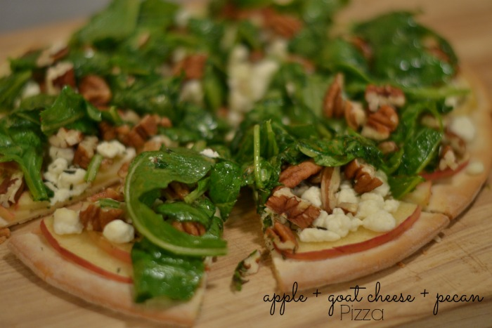 apple + goat cheese + pecan pizza