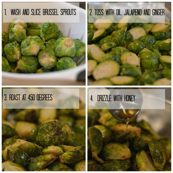 spicy glazed brussel sprout steps