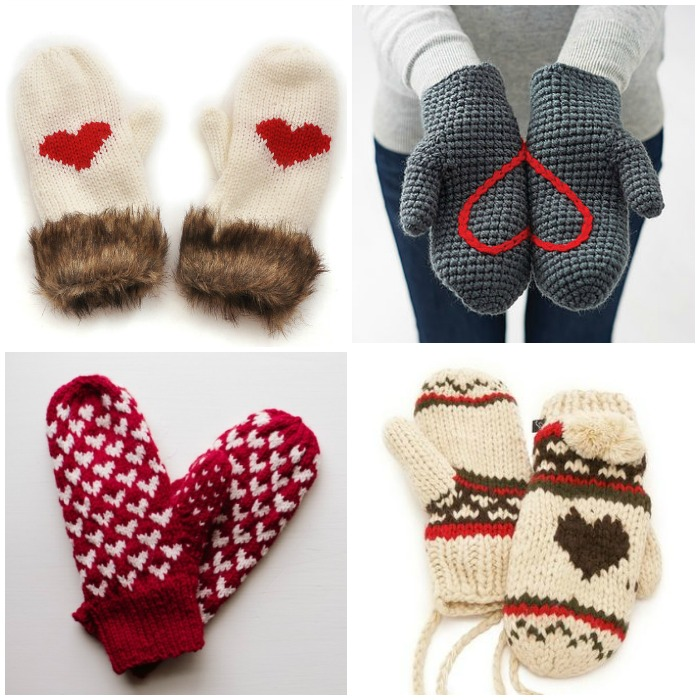 round up of heart mittens